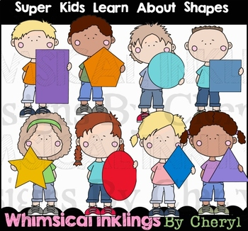 Super Kids Learn About Shapes Clipart Collection