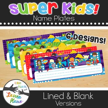 Super Kids Name Plates - Super hero theme - for desks, lockers, cubbies
