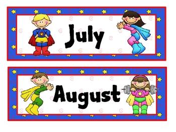 Super Kids Theme Calendar Months
