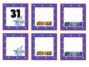 Super Kids Theme Calendar Numbers