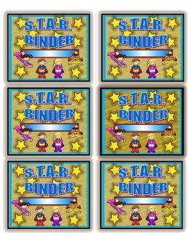 Super Kids Theme ~ S.T.A.R. Binder Labels