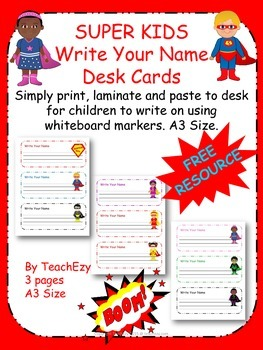 Super Kids Write Your Name Desk Tags