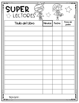 FREE-Super Lector- Reading log
