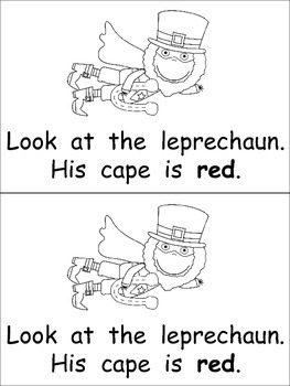 Super Leprechauns Emergent Reader- Kindergarten- St. Patrick's Day Color Words