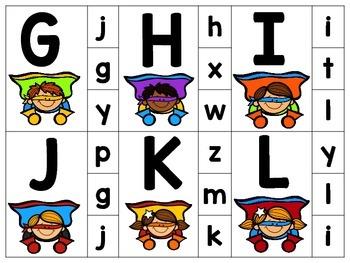 Superhero Alphabet Clip Cards Preschool
