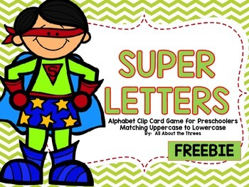 Superhero Alphabet Clip Cards Preschool