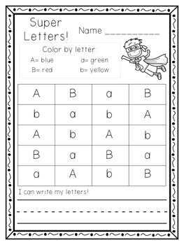 Super Letters: Color by letter uppercase and lowercase letters