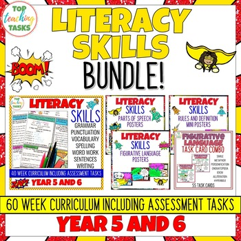 Literacy Skills BUNDLE Activities, Posters and Task Cards (NZ) Year 5 and 6