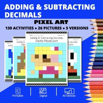 Super Mario: Adding & Subtracting Decimals Pixel Art - Distance Learning Compat.