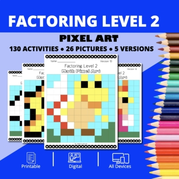 Super Mario: Algebra Factoring #2 Pixel Art - Distance Learning Compatible
