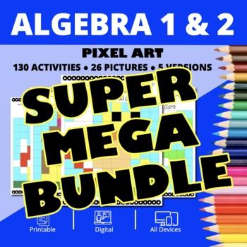 Super Mario Algebra SUPER MEGA BUNDLE: Pixel Art - Distance Learning Compatible
