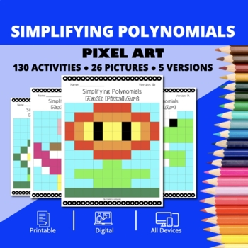 Super Mario: Algebra Simplifying Polynomials #1 Pixel Art - Distance Learning