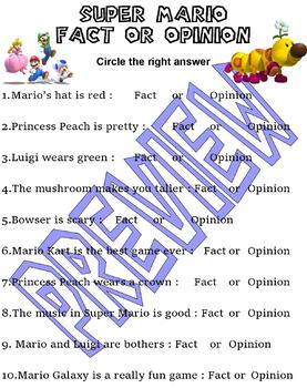Super Mario Brothers : Fact or Opinion Practice : video game fun