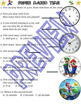 Super Mario Brothers : Telling Time Clock Practice : video