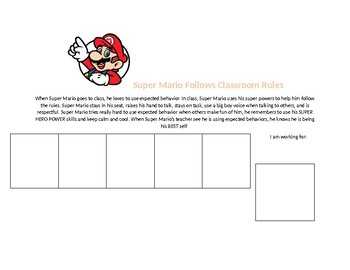 Super Mario Classroom Reinforcement Chart with Social Story