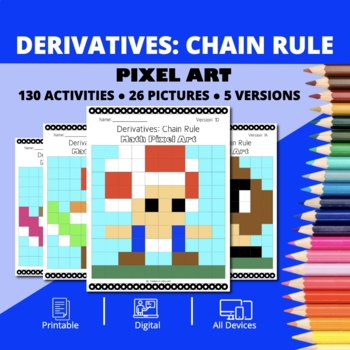Super Mario: Derivatives Chain Rule Pixel Art - Distance Learning Compatible