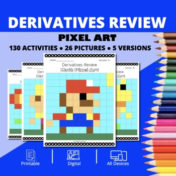 Super Mario: Derivatives REVIEW Pixel Art - Distance Learning Compatible