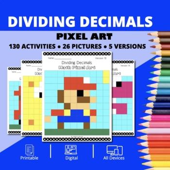 Super Mario: Dividing Decimals Pixel Art - Distance Learning Compatible
