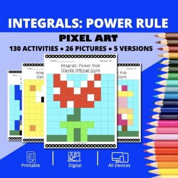 Super Mario: Integrals Power Rule Pixel Art - Distance Learning Compatible