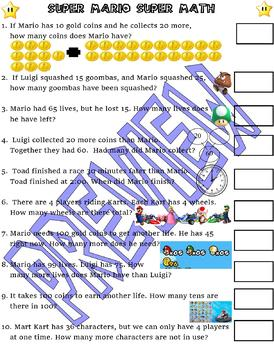 Super Mario Math practice : Telling Time Addition Subtraction : video game fun
