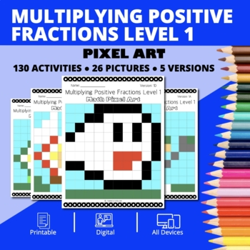 Super Mario: Multiplying Fractions #1 Pixel Art - Distance Learning Compatible
