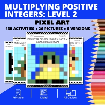 Super Mario: Multiplying Integers #2 Pixel Art - Distance Learning Compatible