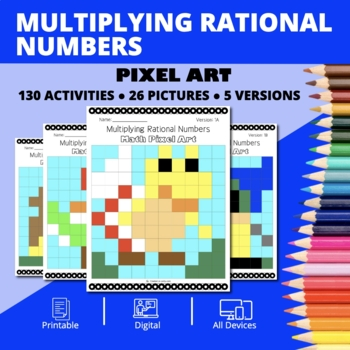 Super Mario: Multiplying Rational Numbers Pixel Art - Distance Learning Compat.