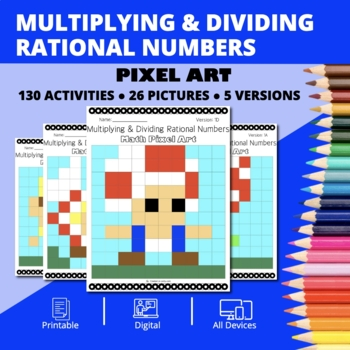 Super Mario: Multiplying and Dividing Rational Numbers Pixel Art Mystery Pic