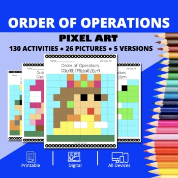 Super Mario: Order of Operations Pixel Art - Distance Learning Compatible