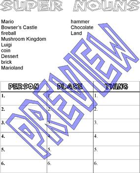 Super Mario Practice Activity Packet : Math, Grammar, Time, lined paper