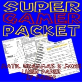 Mario Super Gaming Practice Activity Packet : Math Grammar