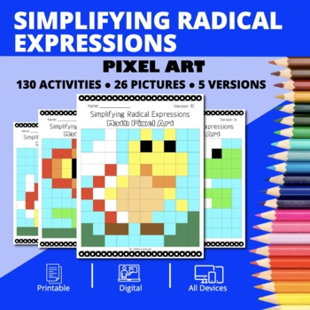 Super Mario: Simplifying Radical Expressions Pixel Art Distance Learning Compat.
