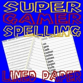 Super Mario Spelling Word Tracing & Test : LINED PAPER