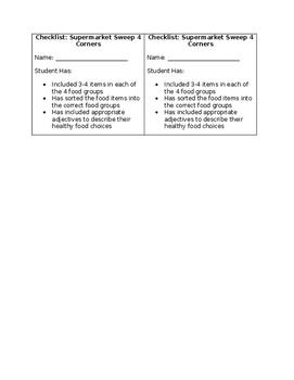 Super Market Sweep Checklist