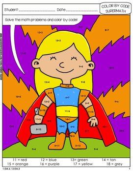 Super Math – 001 - Color by Code - 1st grade - Common Core Aligned