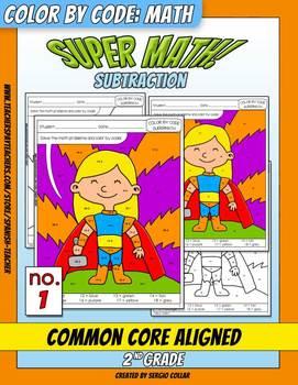 Super Math – 001 - Color by Code – 2nd grade - Common Core