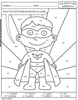Super Math – 002 - Color by Code – 2nd grade - Common Core Aligned