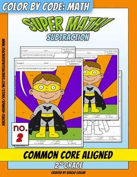 Super Math – 002 - Color by Code – 2nd grade - Common Core