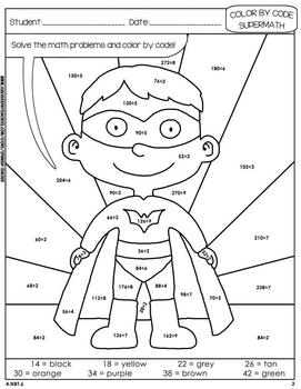 Super Math – 002 - Color by Code – 4th grade - Common Core Aligned