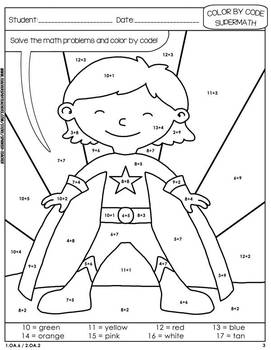 Super Math – 003 - Color by Code – 1st grade - Common Core Aligned