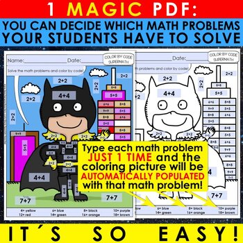Super Math – 2nd Grade – Color by Code – BILINGUAL+EDITABLE