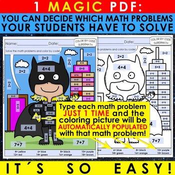Super Math – 4th Grade – Color by Code EDITABLE – Common Core Aligned