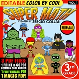 Super Math – 3rd Grade – Color by Code – BILINGUAL+EDITABLE