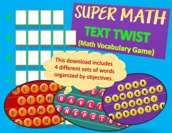 Super Math Vocabulary Text Twist Activity