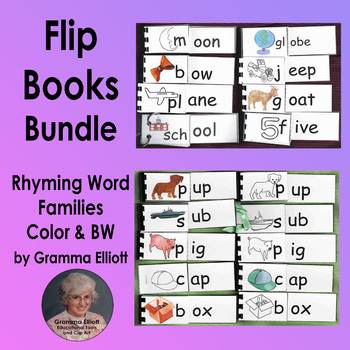 Flip Books Collection of 133 Rhyming Word Families K 1 2 in Color and BW