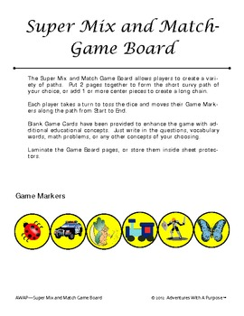 Super Mix and Match Game Board