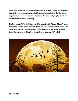 Super Moon - information facts questions lesson  - Nov 2016 Super Moon