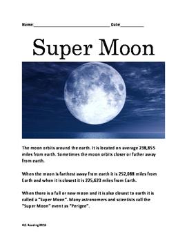 Super Moon - information facts questions lesson  - Nov 201