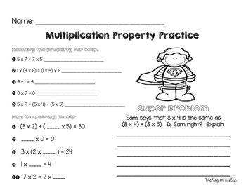 Super Multiplication Properties Posters and Practice