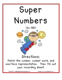 Super Numbers to 100 (Number and Number Word Match Up)